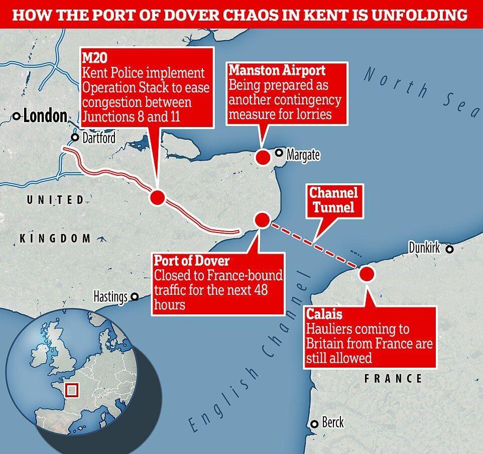 Порт Дувр в графстве Кент закрыт
