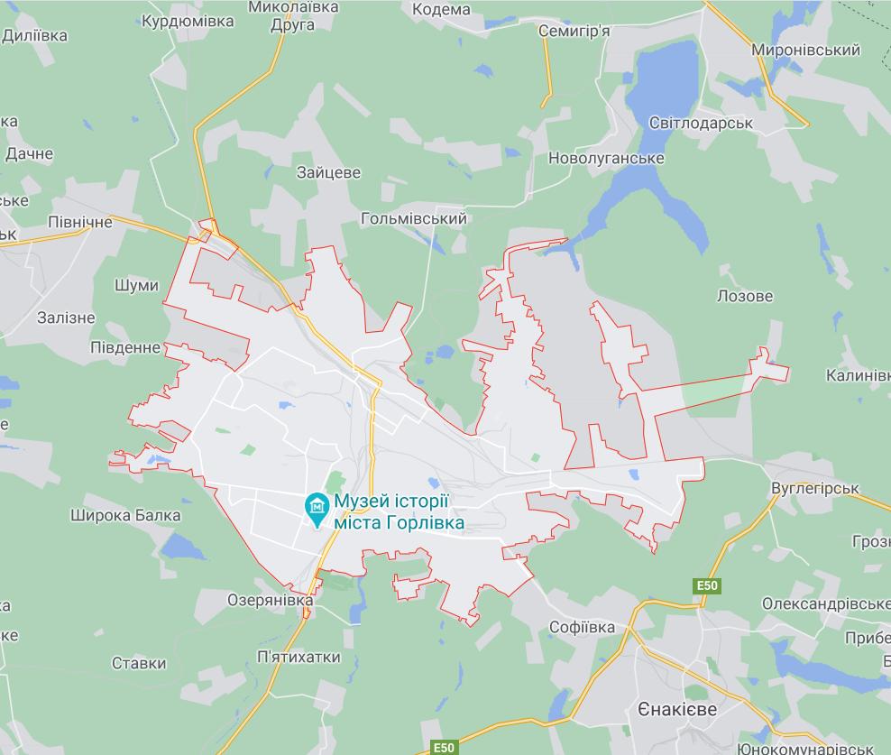 Карта окупованої Горлівки.
