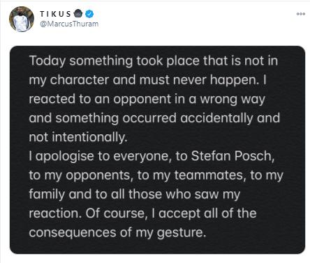 Маркус Тюрам извинился за свое поведение