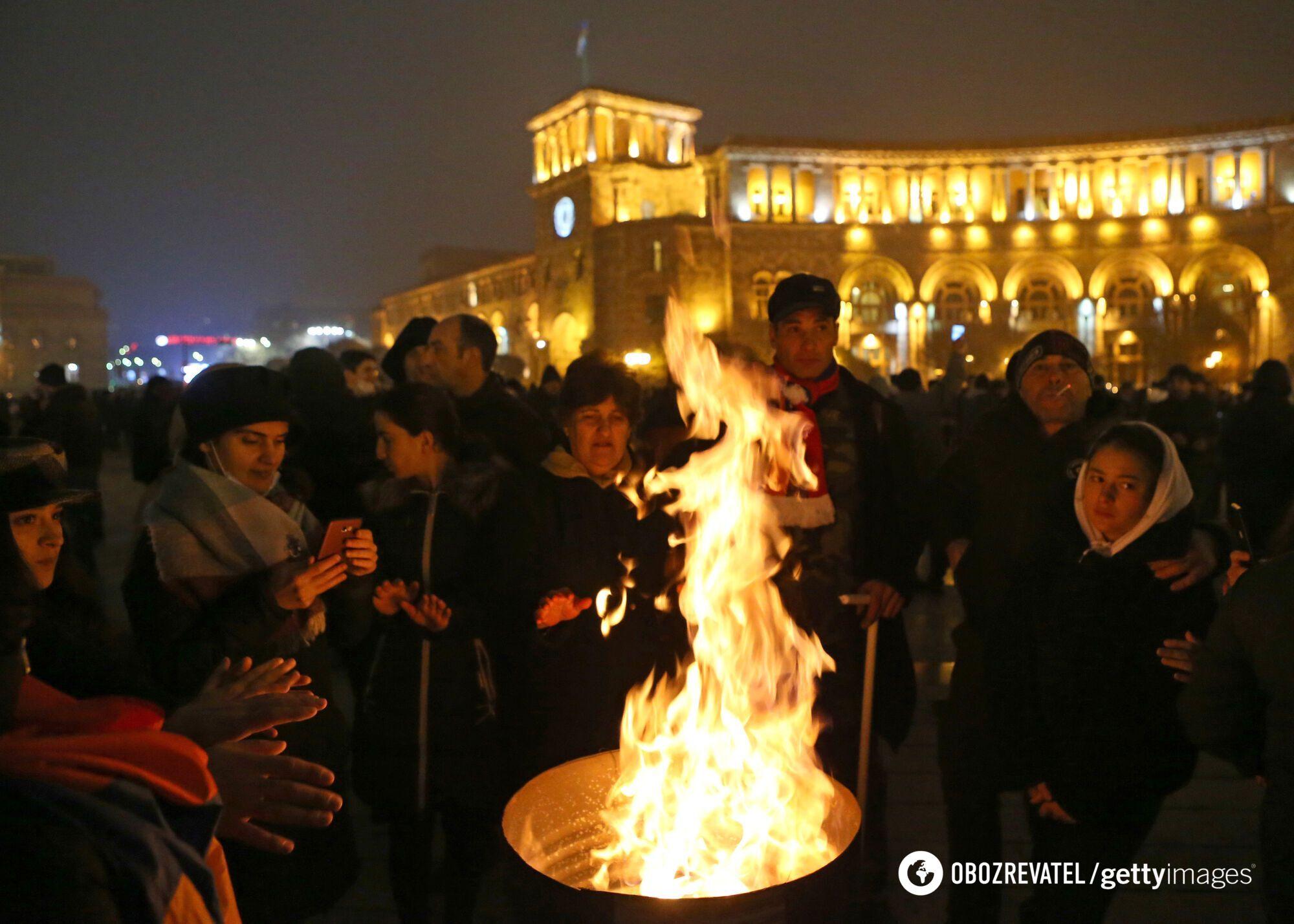Учасники протесту в столиці Вірменії.