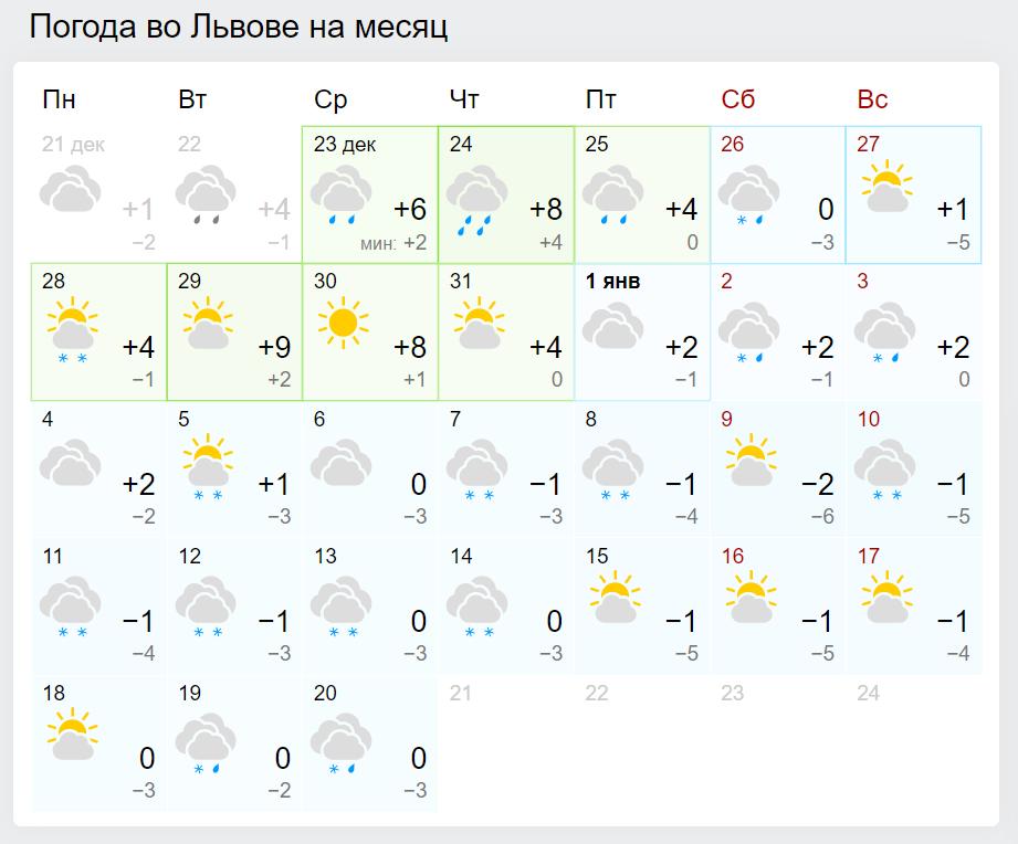 Погода во Львове на Новый год и Рождество.