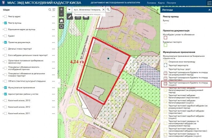 Відповідно до Генплану столиці ця ділянка є територією громадських будівель і споруд, де будівництво житла не дозволяється