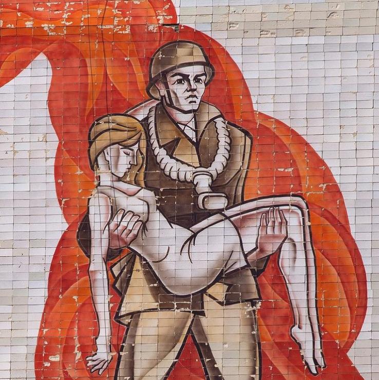 Пожарная станция, Полонное, Украина. Фрагмент мозаики неизвестного автора, керамическая плитка