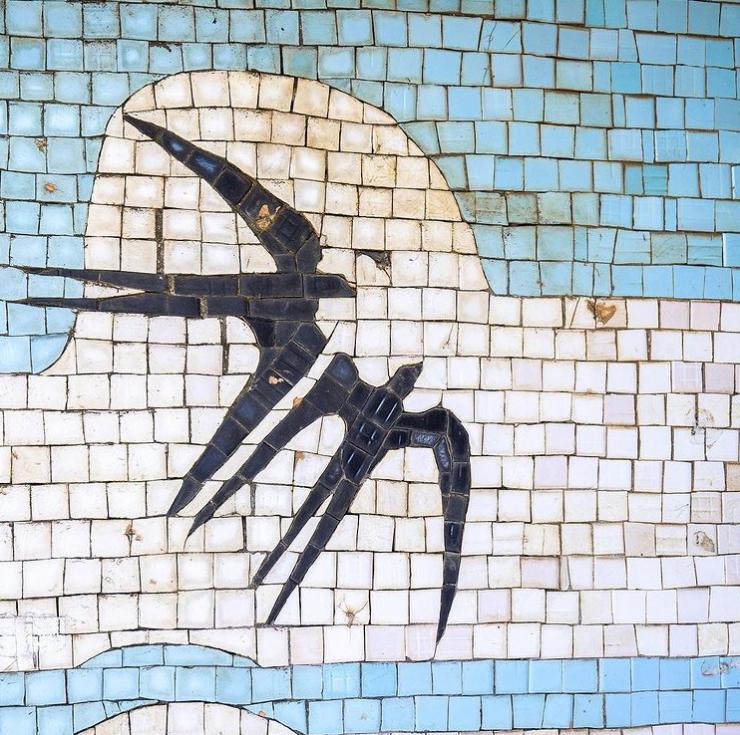 Автобусная остановка Чабанское, Одесская область, Украина. Фрагмент мозаики неизвестного автора, керамическая мозаика