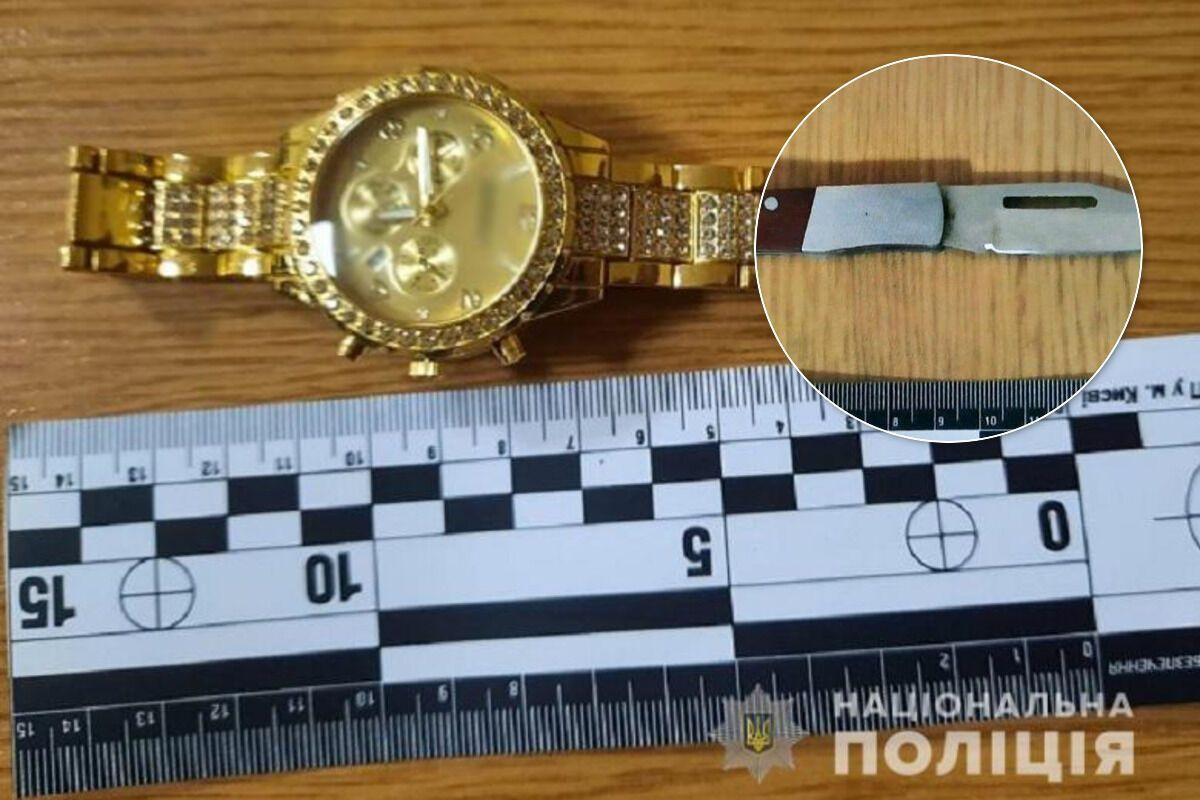 Часы жертвы и нож преступника