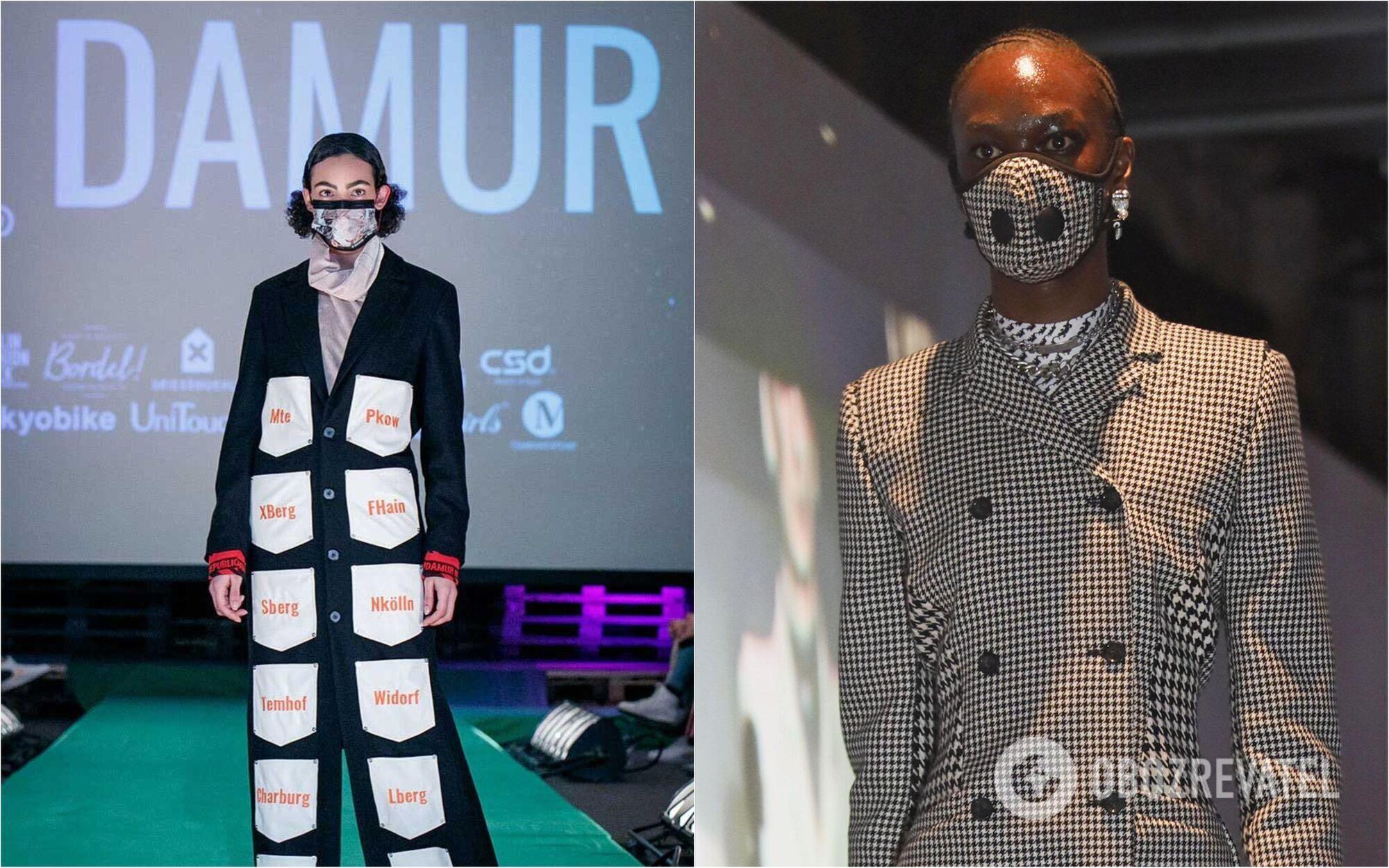 Модели на показе мод в масках