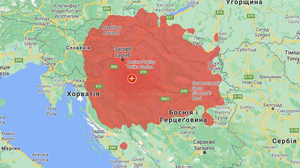 Центр землетрясения в Хорватии