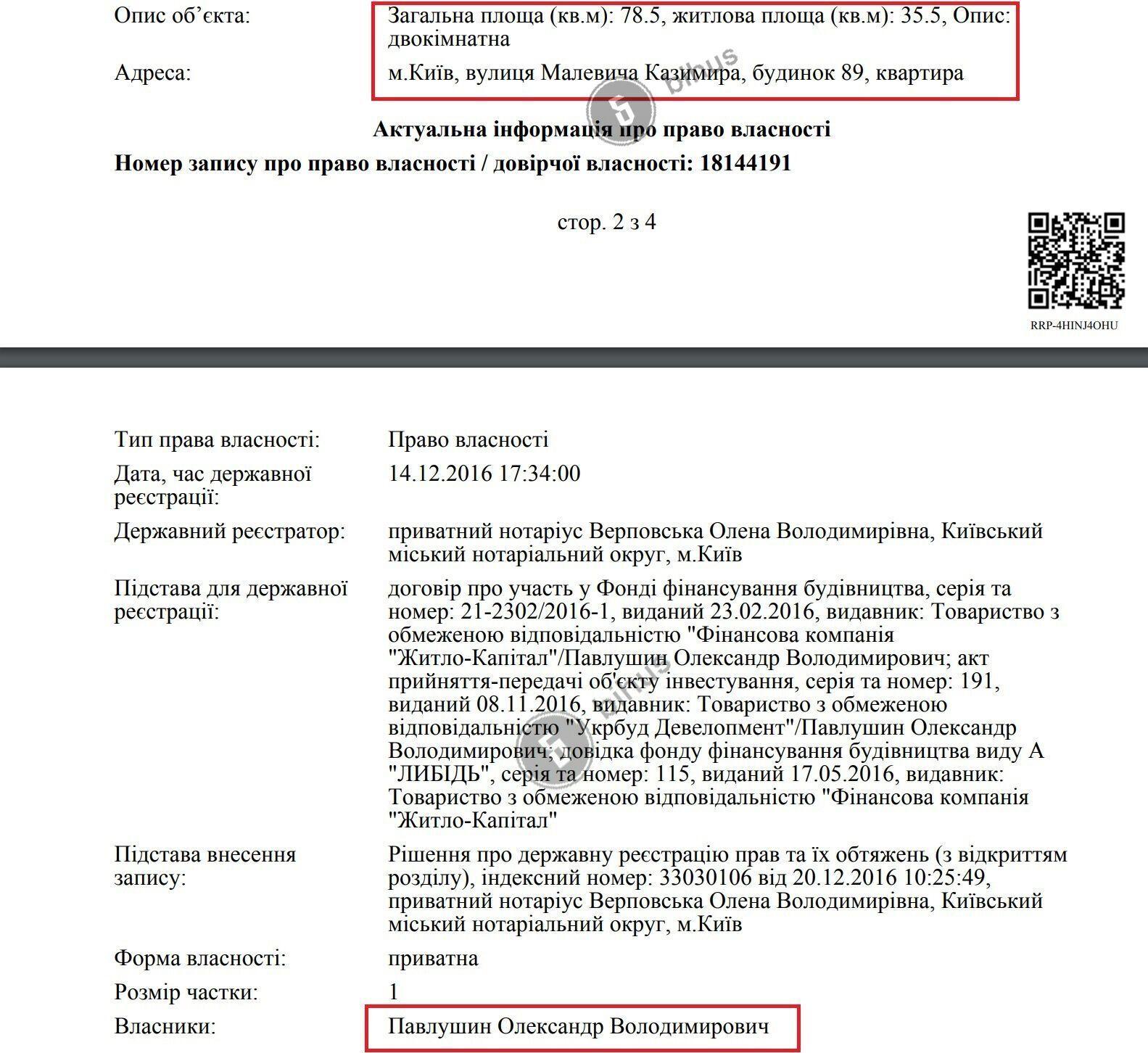 Данные о квартире Павлушина.