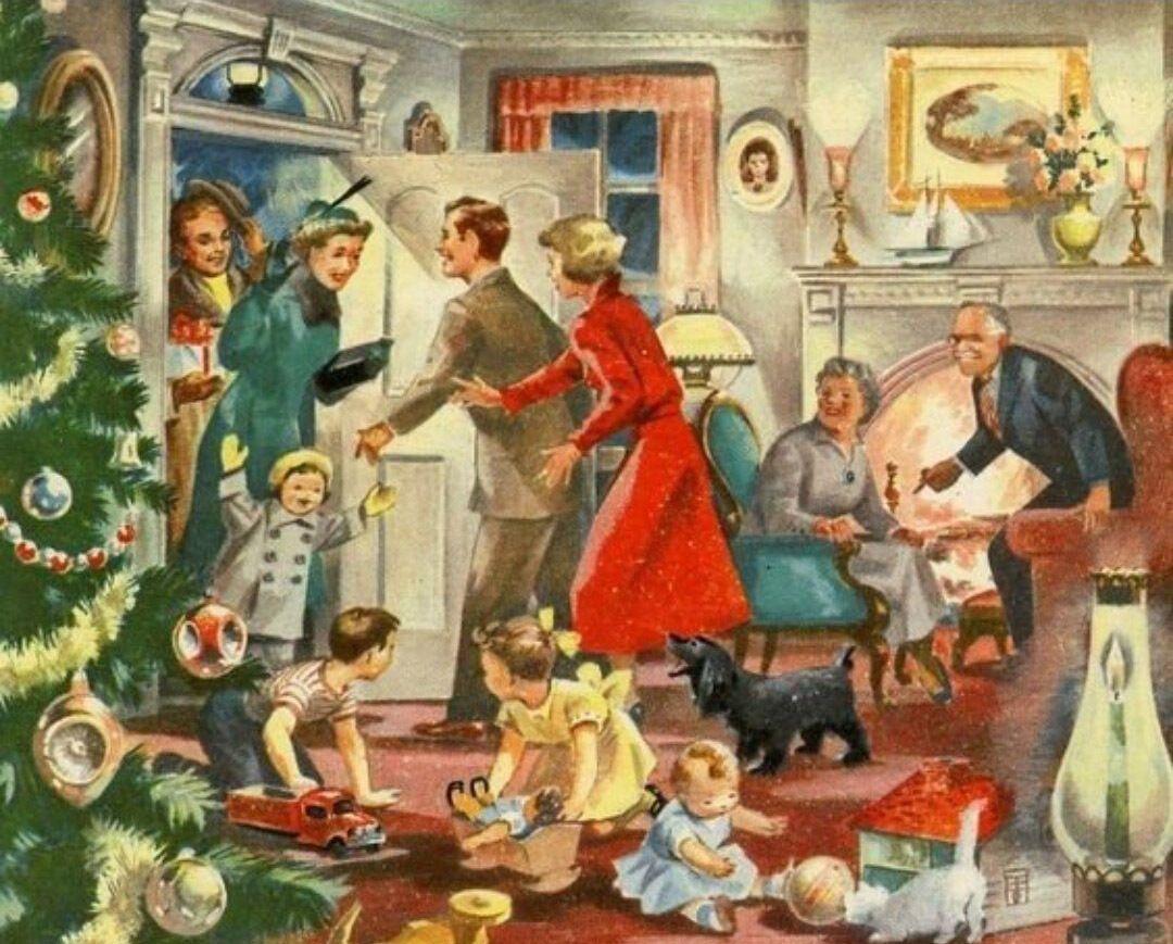 Встреча гостей в Рождество, открытка, США, 50-е