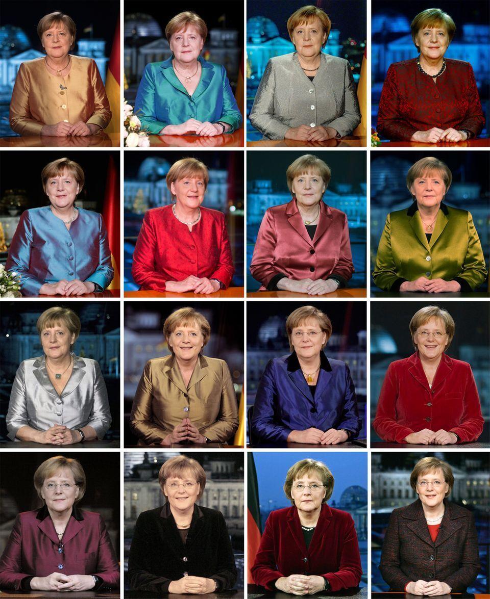 Изменения новогоднего образа Ангелы Меркель в более 15 лет.