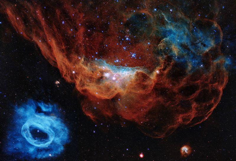Более крупный объект – NGC 2014, рядом – NGC 2020