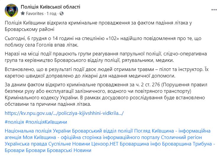 Поліція повідомила про падіння літака на Київщині