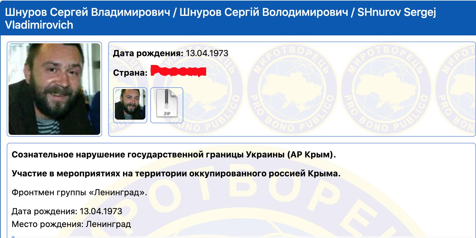 """Шнуров внесений у базу """"Миротворця""""."""