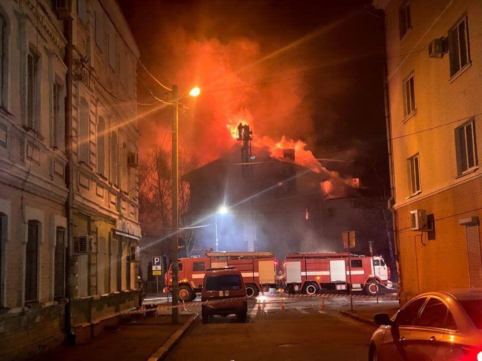 Пожар в центре Полтавы
