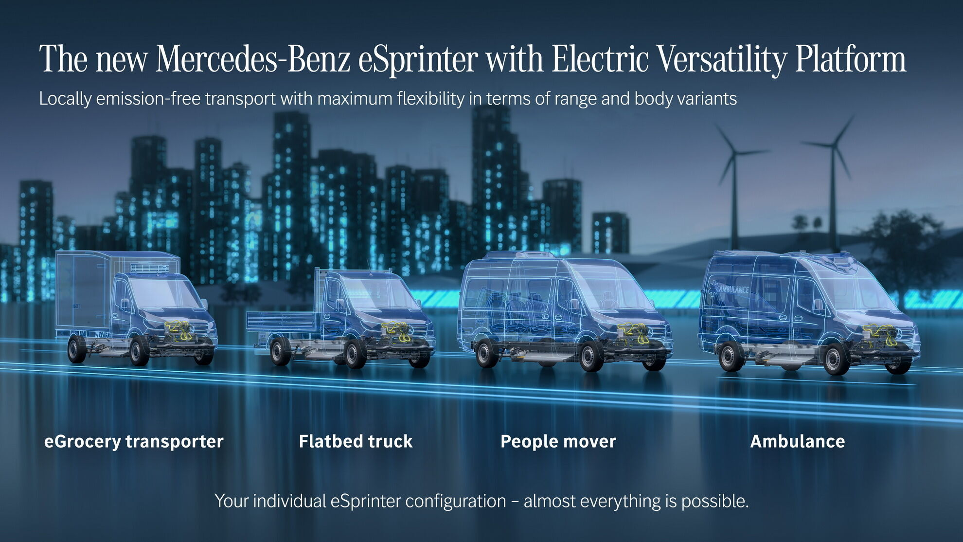 eSprinter послужит основой для создания широкой гаммы моделей, от шасси до цельнометаллического фургона и микроавтобуса