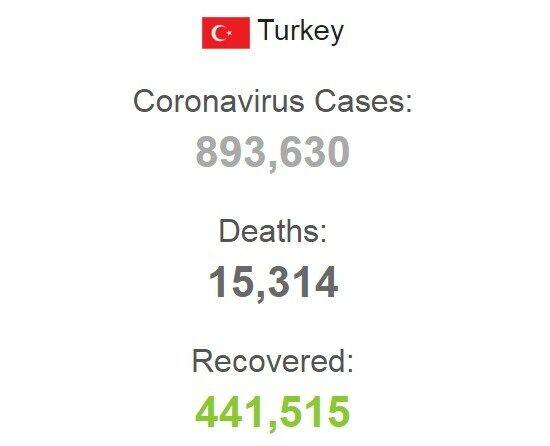 Общая статистика заболеваемости в Турции.