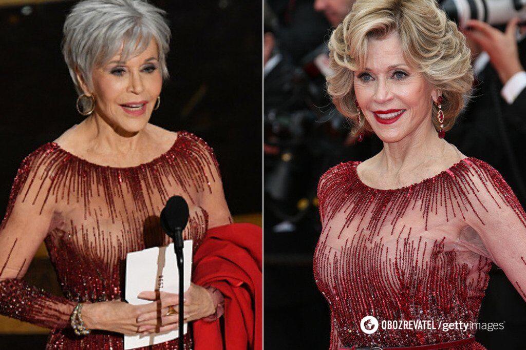 """Джейн Фонда на """"Оскарі-2020"""" і на Каннському кінофестивалі у 2014 році"""