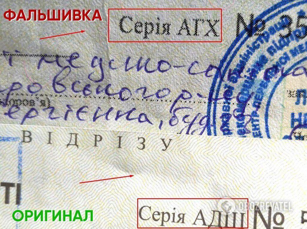 Сверху – фальшивка, снизу – оригинал  При близком рассмотрении видны различия в качестве бумаги и шрифтах