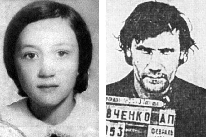 Первая жертва Чикатило Елена Закотнова и осужденный за ее убийство Александр Кравченко
