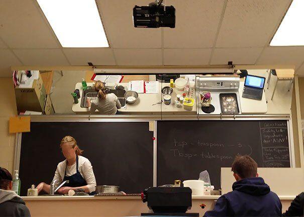 Дзеркало над столом вчителя, щоб бачити, що вона готує