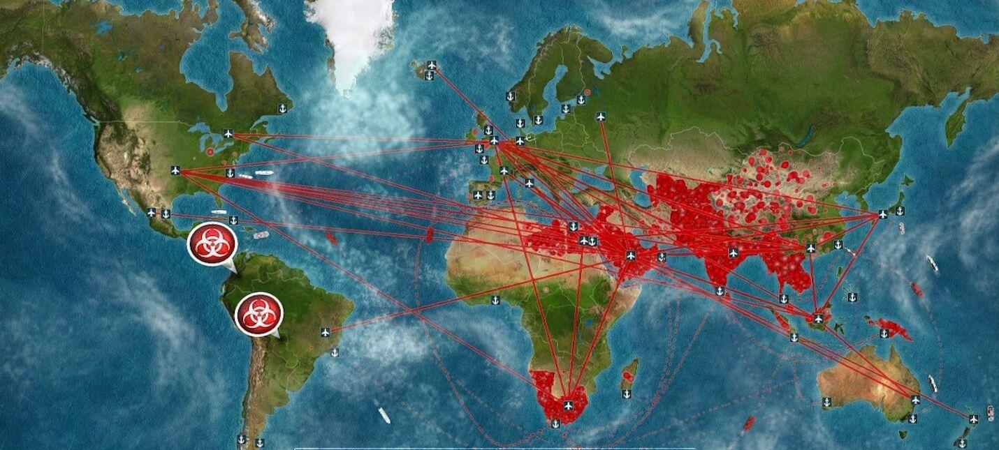 Карта компьютерной игры Plague Inc.