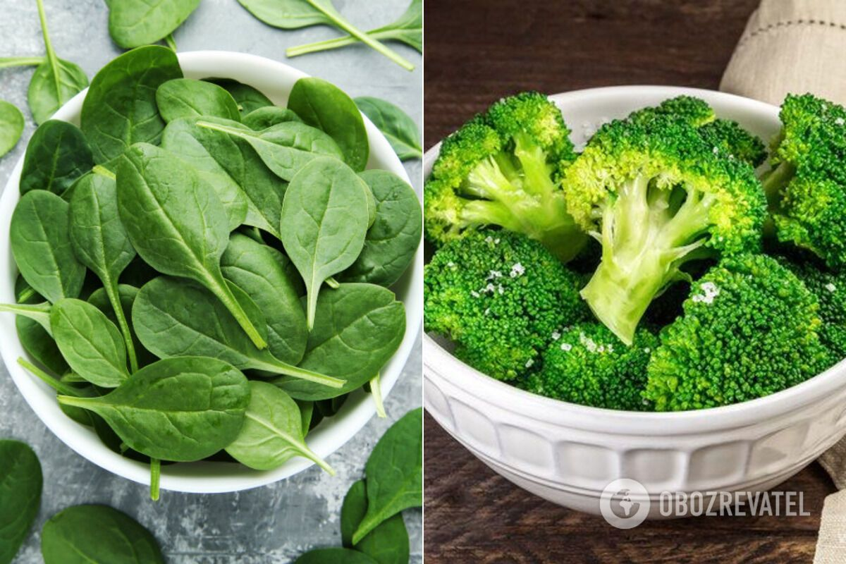 Шпинат і броколі багаті фолієвою кислотою
