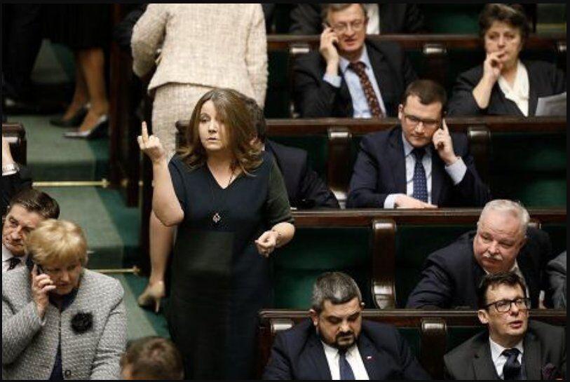Йоханна Лихоцкая показывает средний палец оппозиции