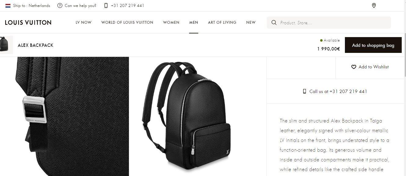 На офіційному сайті рюкзак коштує 1,99 тис. євро