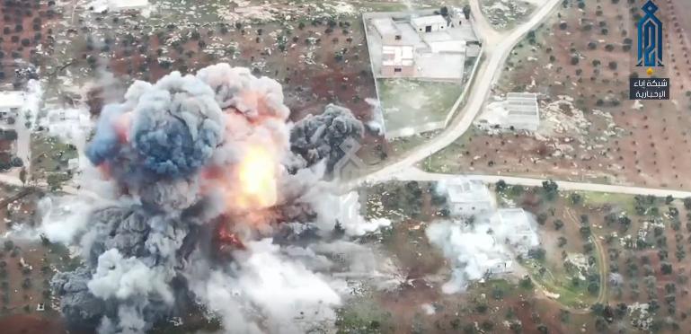Момент взрыва на российской базе в Алеппо