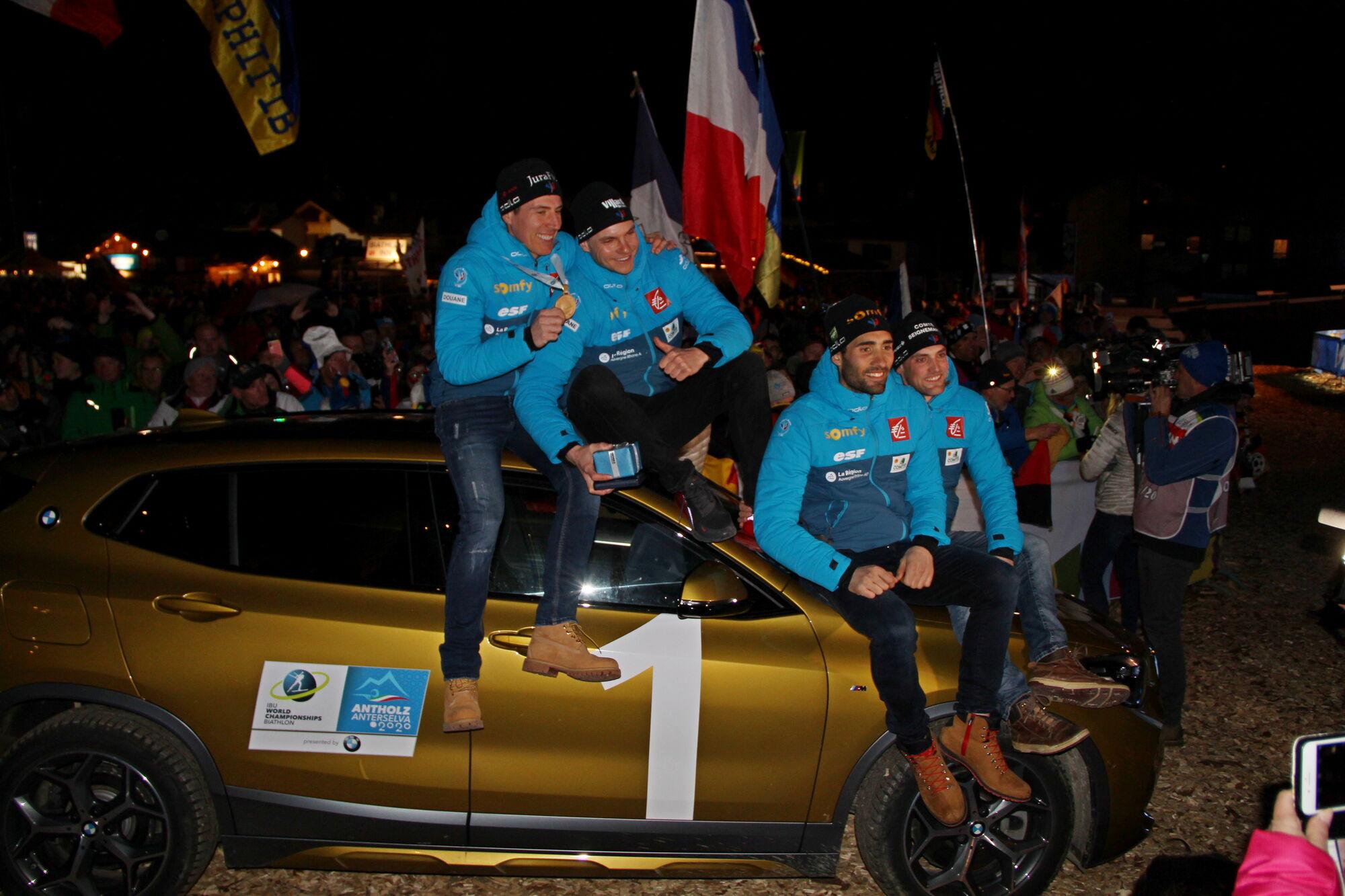 Французы не стеснялись праздновать победу в эстафете