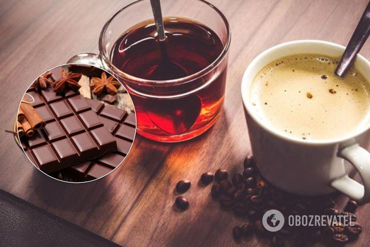 Шоколад і напої з вмістом кофеїну шкідливі перед сном