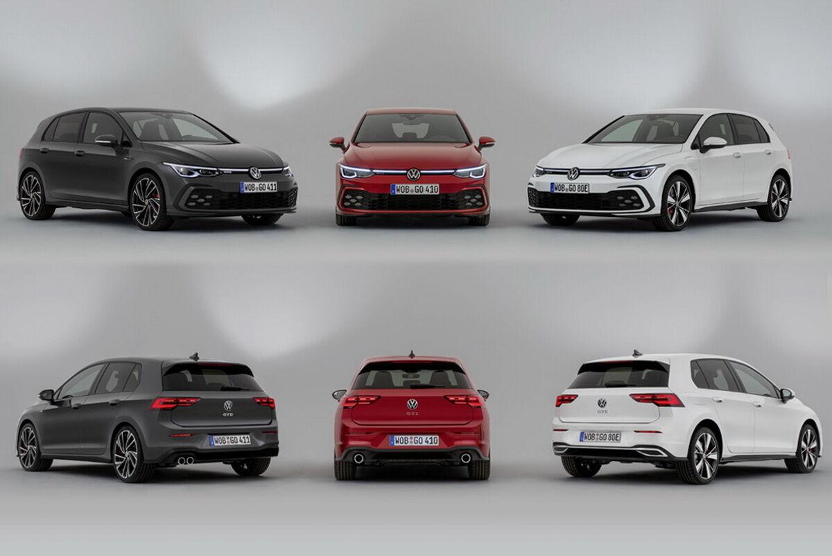 Тройка спортивных хэтчбеков VW Golf восьмой генерации: дизельный GTD, бензиновый GTI и гибридный GTE