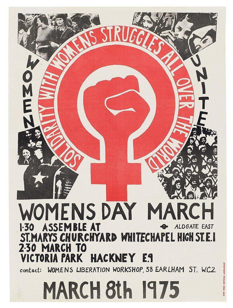Постер маршу в день жінок, 1975, Лондон