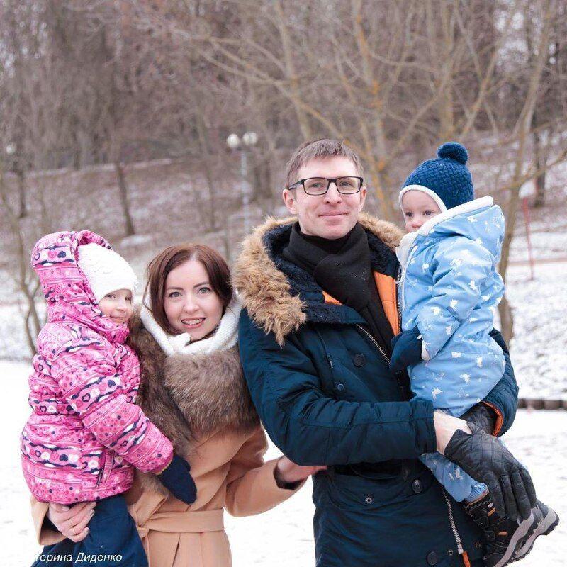 Диденко с мужем и детьми