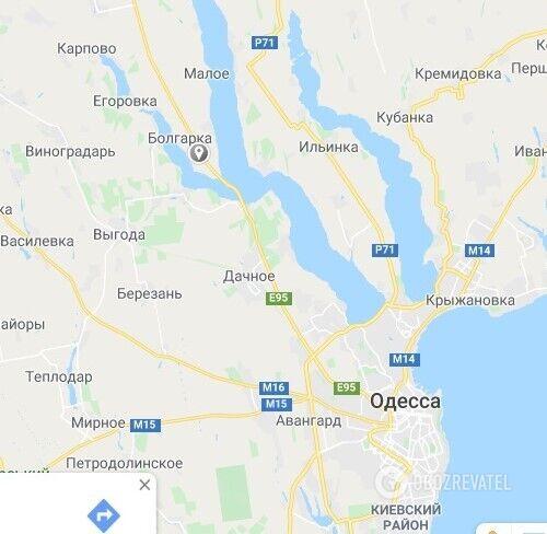 """Место ДТП с автобусом """"Одесса-Киев"""""""