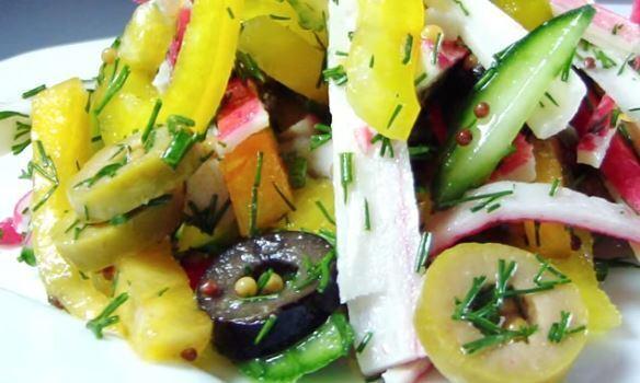 Салат із крабових паличок без майонезу