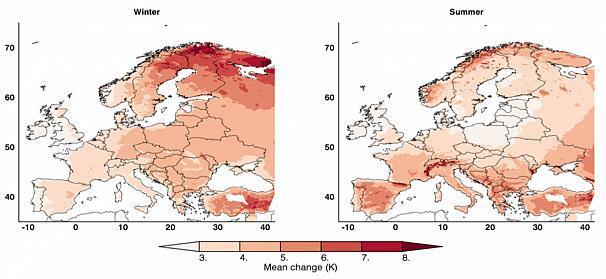 Прогнозована зміна середньодобової температури взимку та влітку в кінці століття (2071-2100) порівняно з кліматом сучасності (1981-2010 рр.)