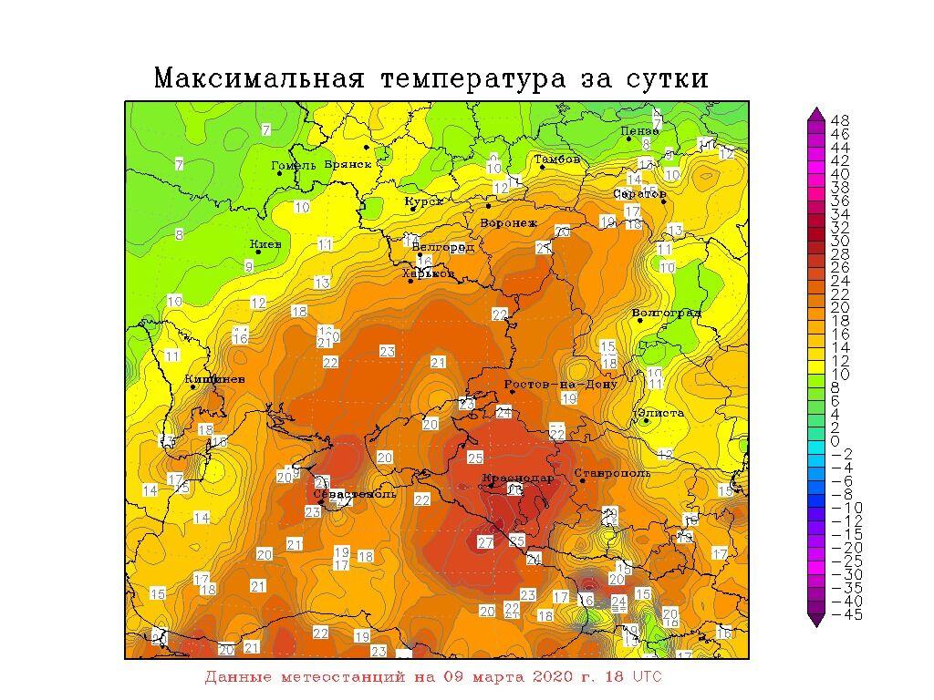 Розподіл максимальних температур повітря в Україні 9 березня
