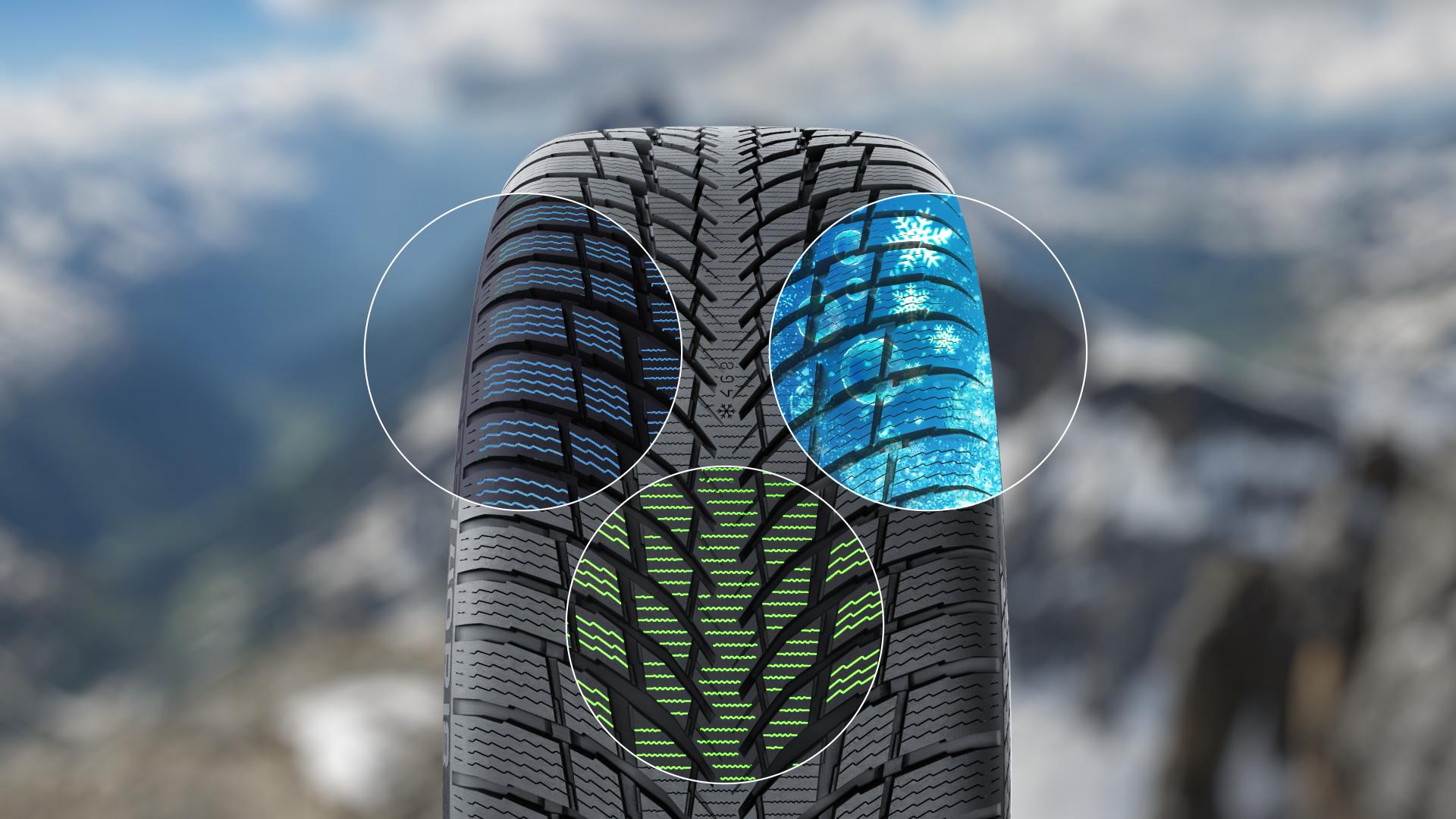 Концепция Alpine Performance включает три основных элемента: оптимизированный рисунок протектора, густую сетку ламелей и новую резиновую смесь Alpine Performance