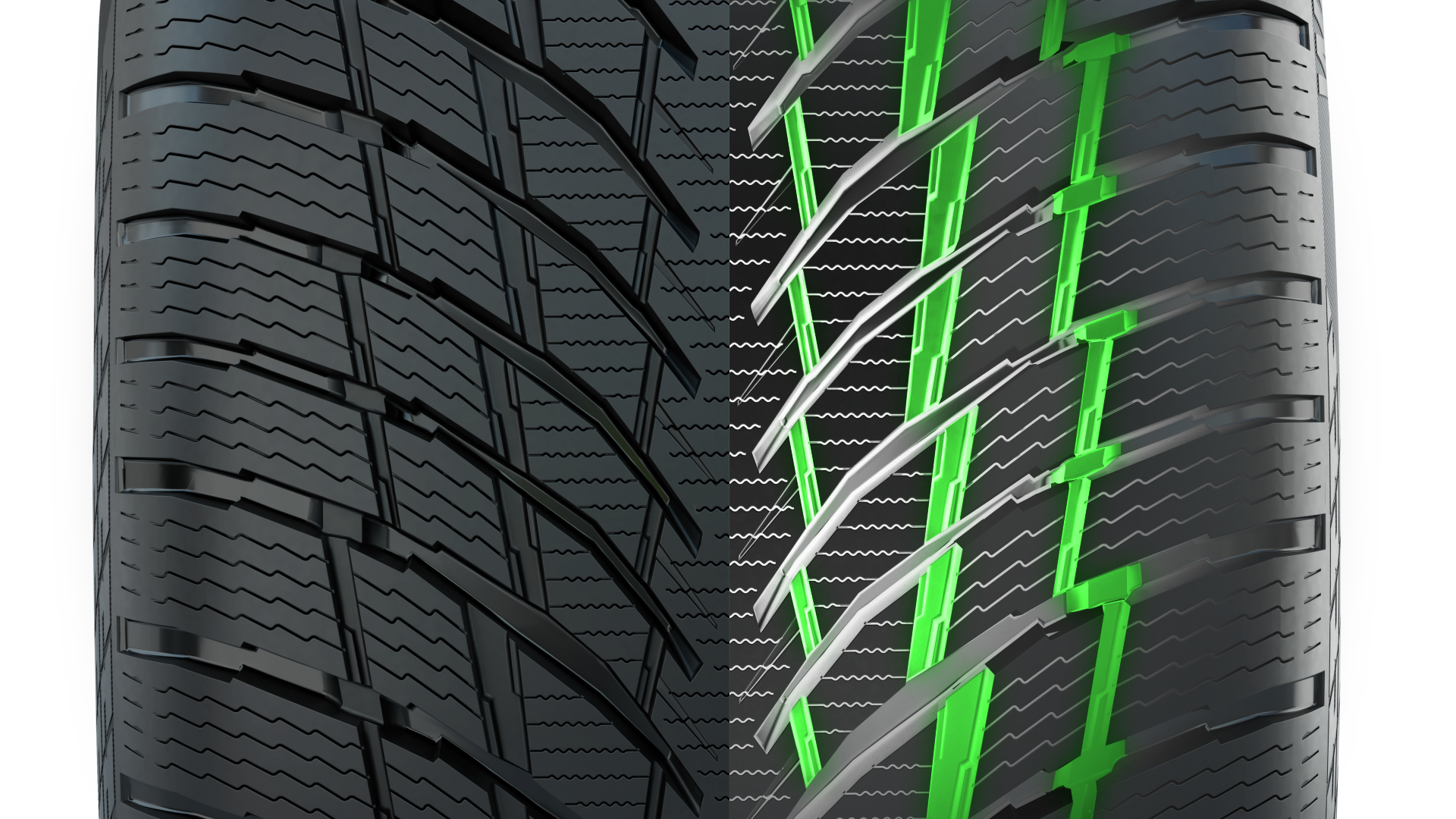 Матричная поддержка блоков протектора гарантирует предсказуемое поведение автомобиля на дороге