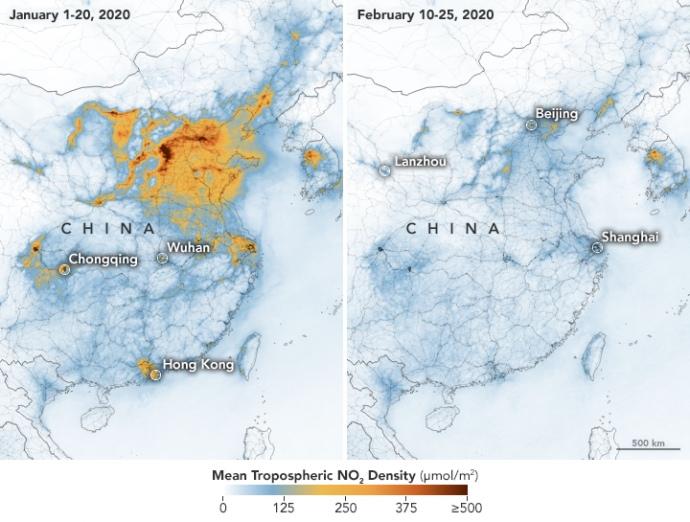 Концентрация диоксида азота над Китаем