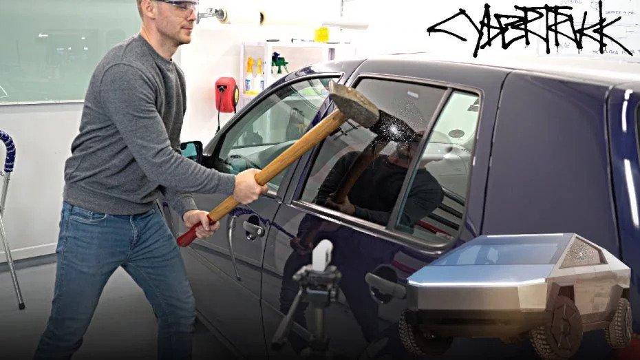 Попытка разбить стекло VW Golf