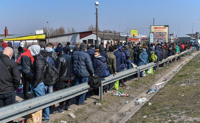Очередь на польско-украинской границе