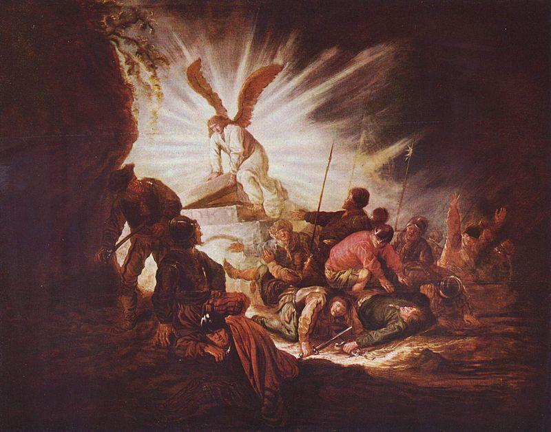 Христово Воскресение. Ангел открывает Господень гроб. Беньямин Геритч (ок. 1640)