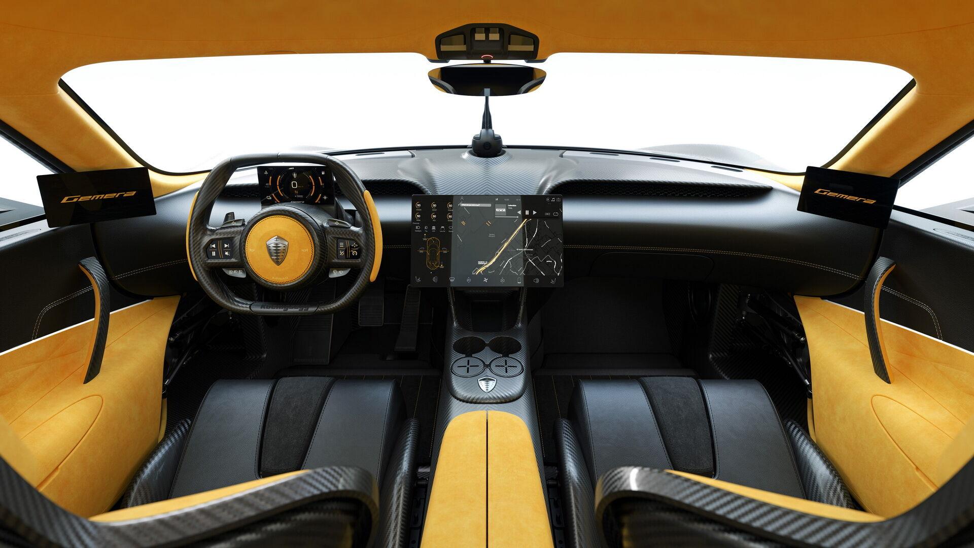 Стильная отделка и современное оборудование характеризуют интерьер Koenigsegg Gemera