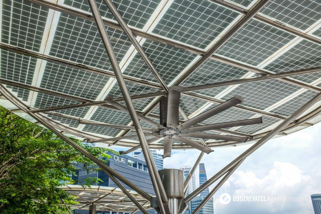 Комплекс фотоэлектрических панелей в Сингапуре
