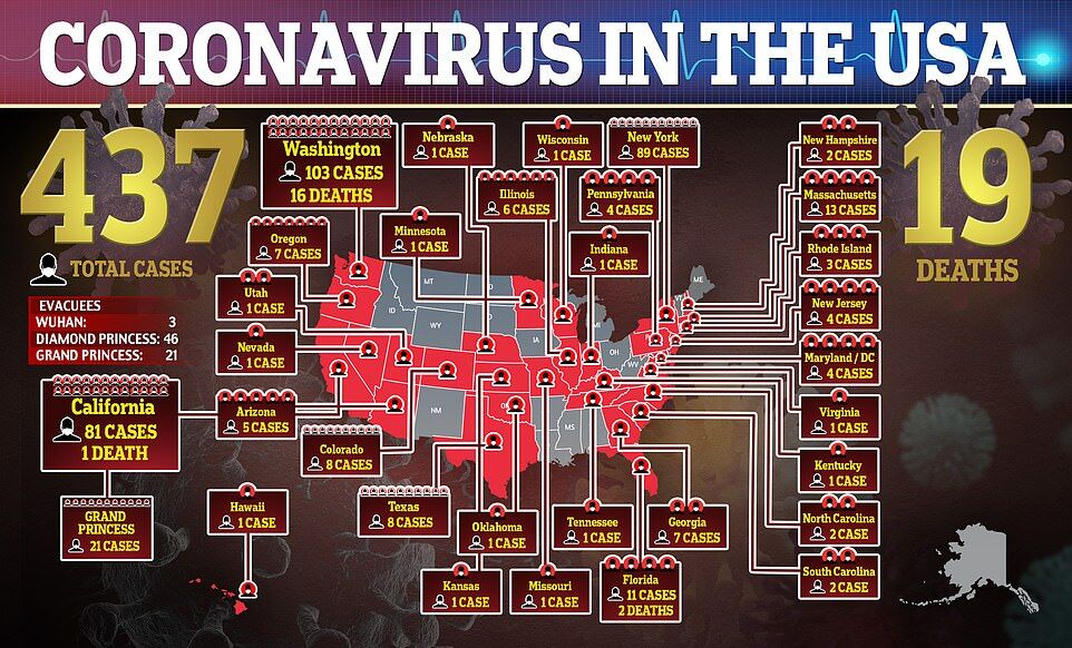 Карта распространения коронавируса в США