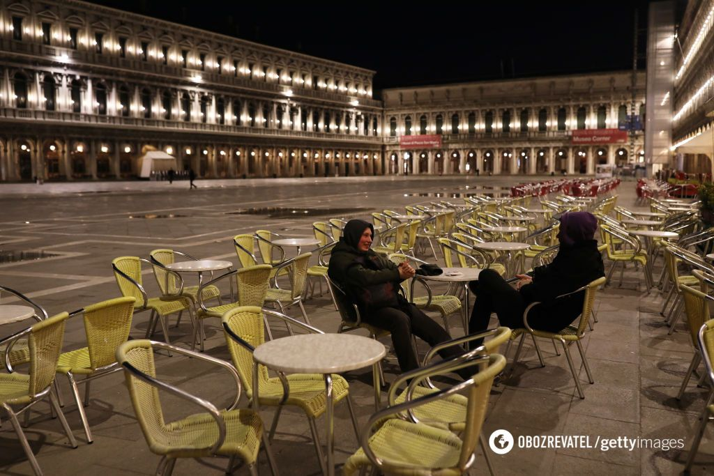 Почти безлюдная площадь Сан-Марко в Венеции