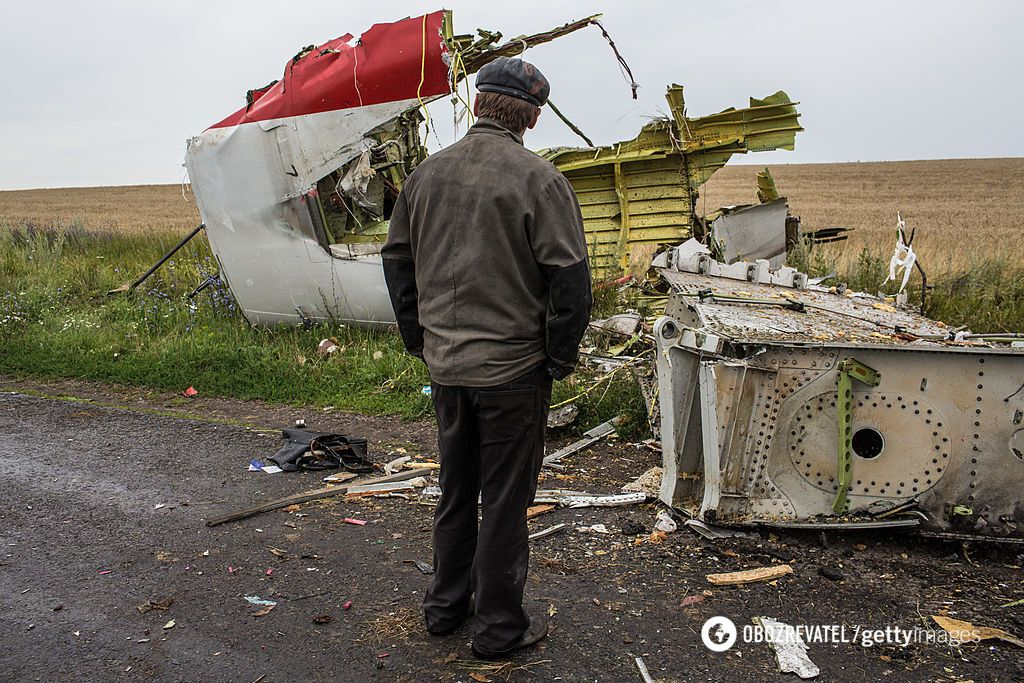 Место крушения самолета над Донбассом