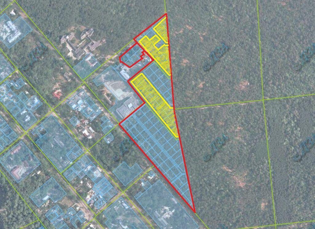 Теща Горана по состоянию состоянию на 2020 год владеет участками, обозначенными желтым цветом